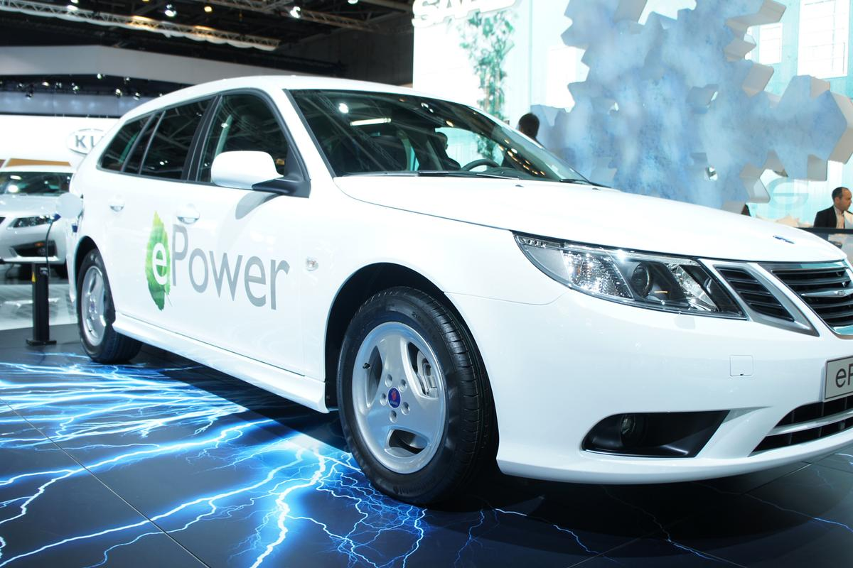 The Saab 9-3 ePower on debut at the Paris Motor Show