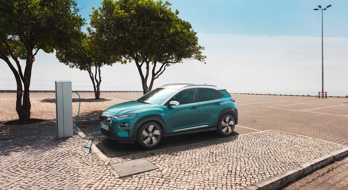 The Kona Electric wears a slightly different face to its fossil fuel-powered forefather