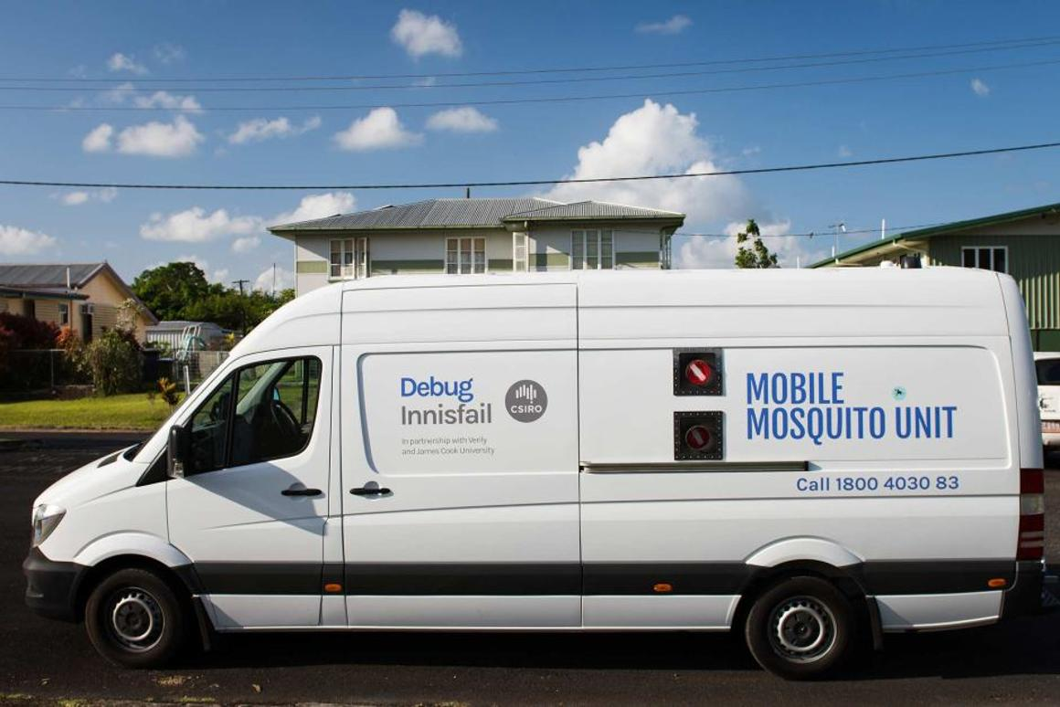 The mobile mosquito dispatch van used in the Australian trial