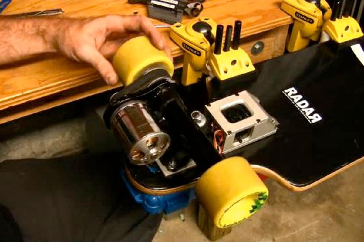 The LaGrange L1 is a motorized skateboard truck that can be used to retrofit existing non-powered skateboards