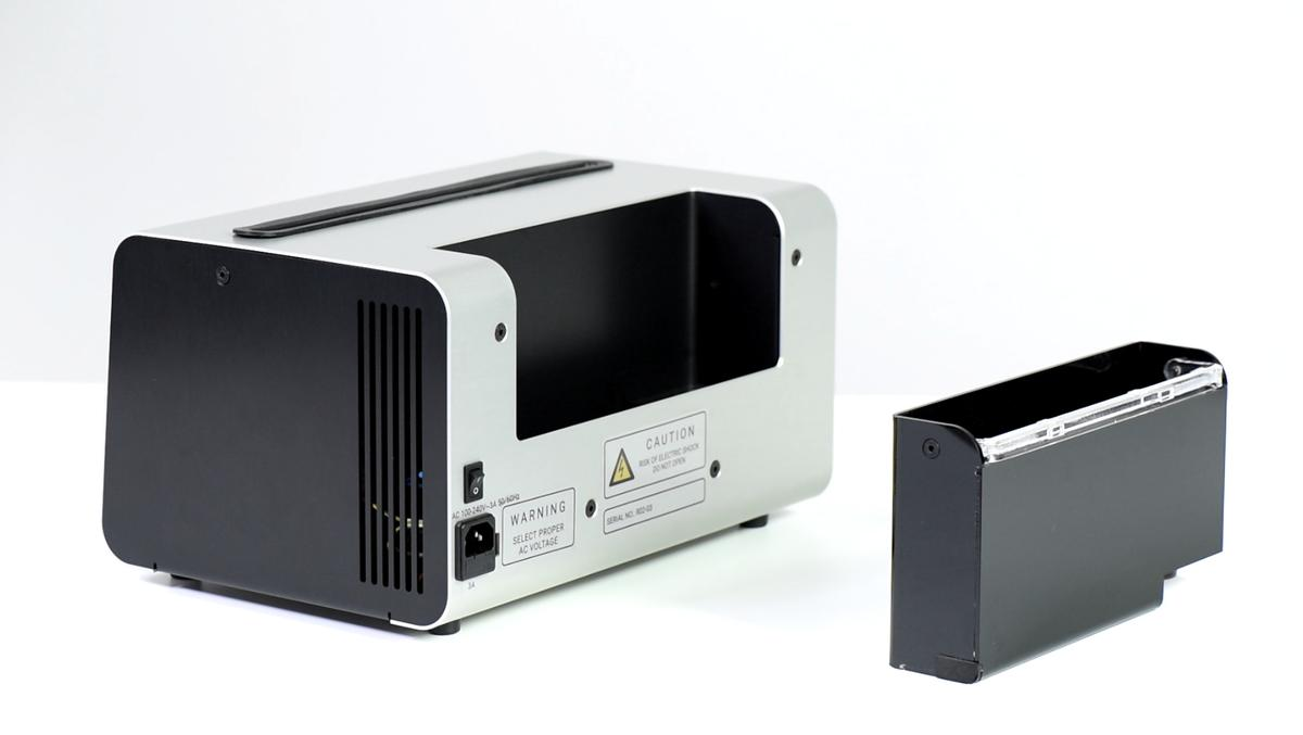 The Degritter ultrasonic record cleaning system features a removable water tank