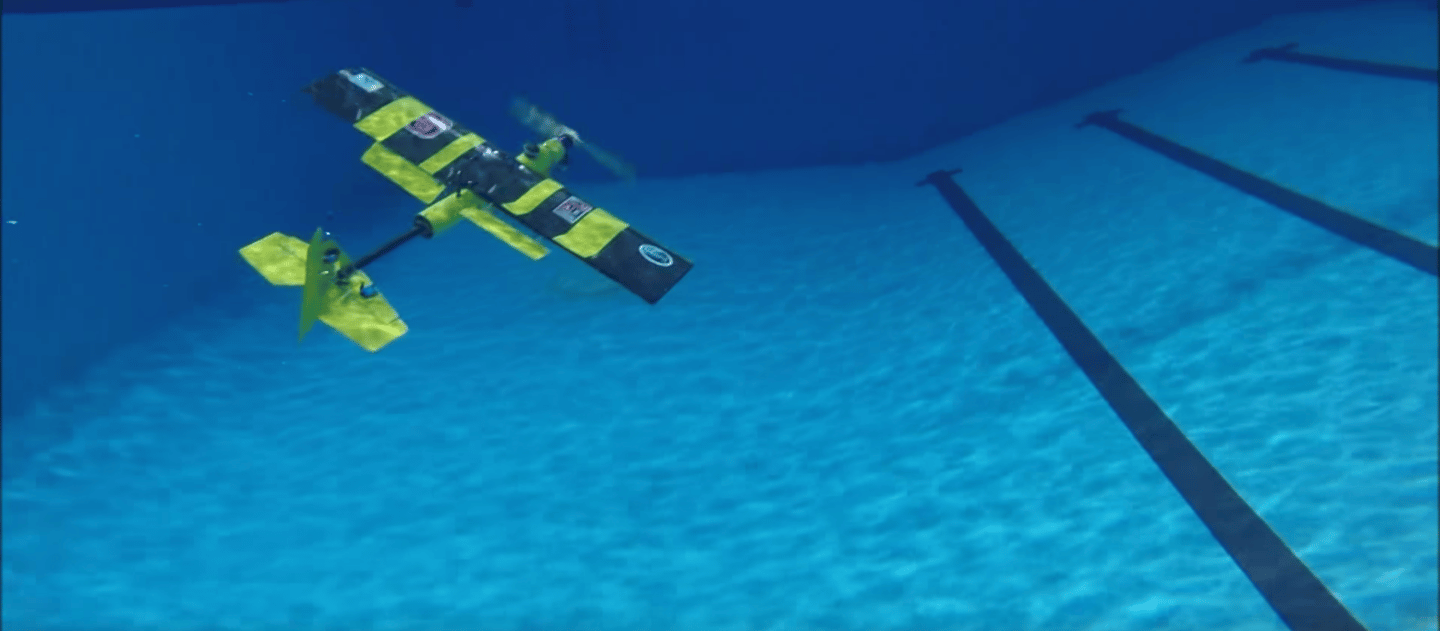 The EagleRay XAV is an amphibious fixed-wing drone that can fly or swim as needed
