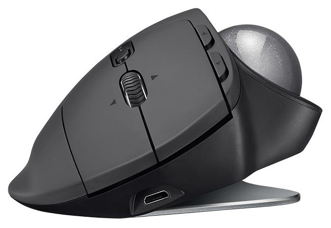 Logitech's MX Ergo has an adjustable metal hinge, allowing it to be set to sitflush against the desk,or raised up to 20 degrees