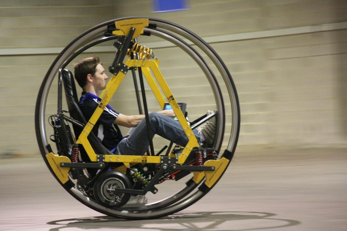 EDWARD (Electric Diwheel With Active Rotation Damping) is a student-built electric, working dicycle (Image: University of Adelaide)