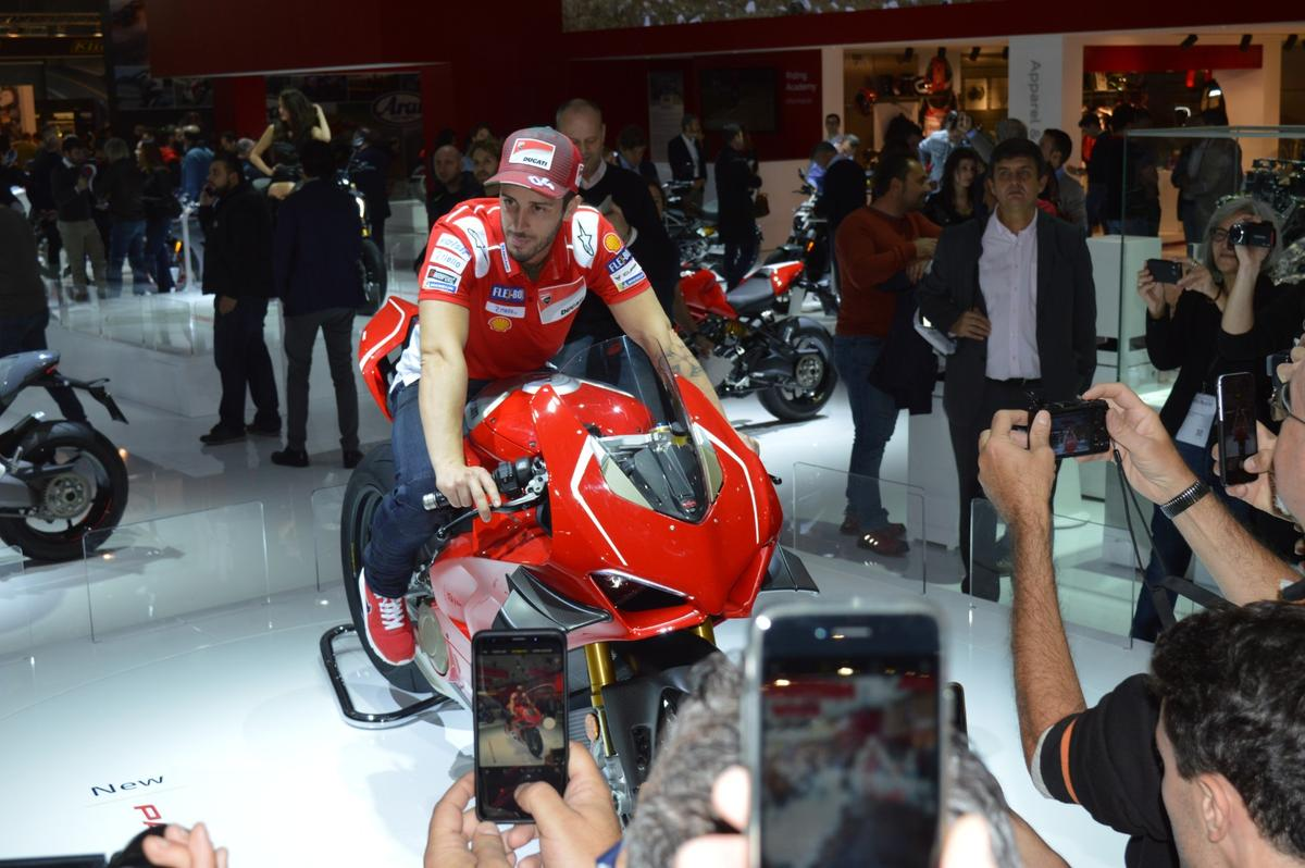 Ducati's MotoGP star, Andrea Dovizioso, joined in for the introduction of the new Panigale V4 R