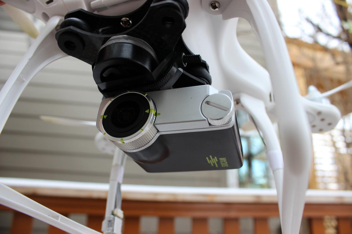 The Socam UltiMate, jerry-rigged to the underside of a DJI Phantom quadcopter