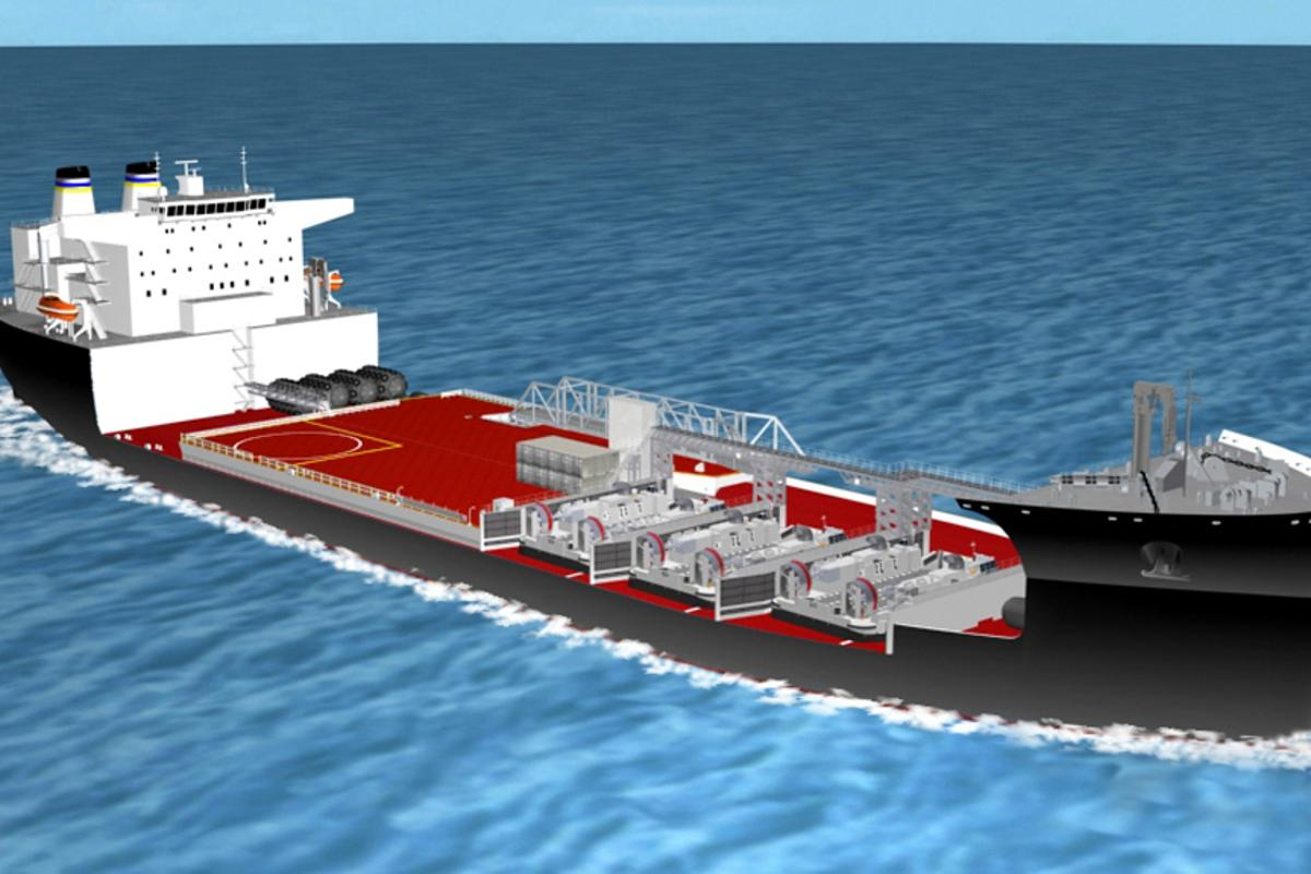 An artist concept of a mobile landing platform (MLP) ship under construction (Image: U.S. Navy photo illustration courtesy of NASSCO)