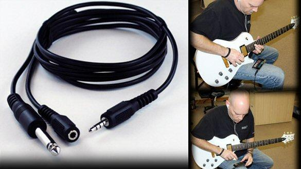 Guitarbud: a six foot cable with 3.5mm output and input capabilities and a 6.3mm output for your instrument
