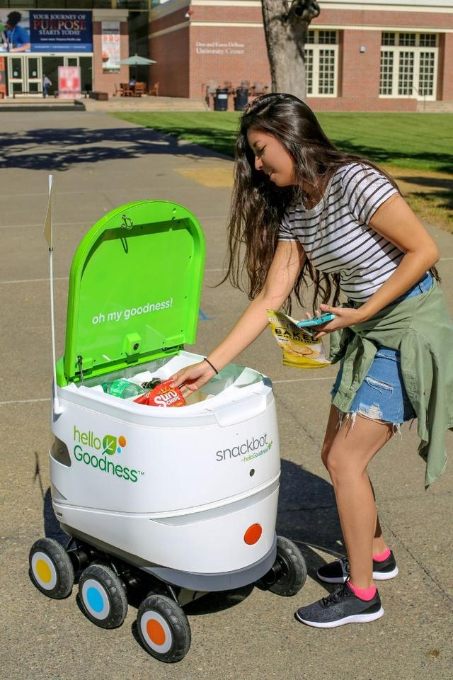 "The ""snackbots"" can deliver a variety of cold food and beverages to students on demand"