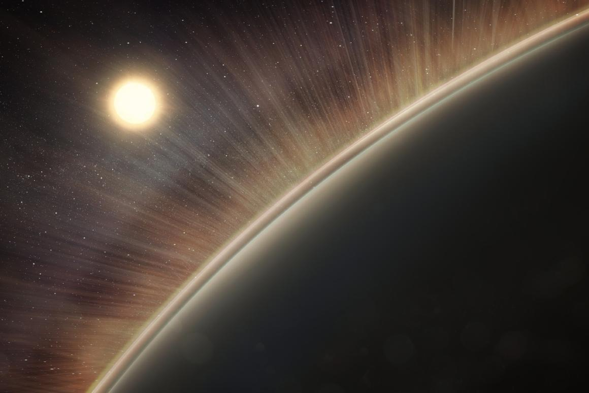 An artist's impression of the electric wind streaming off Venus