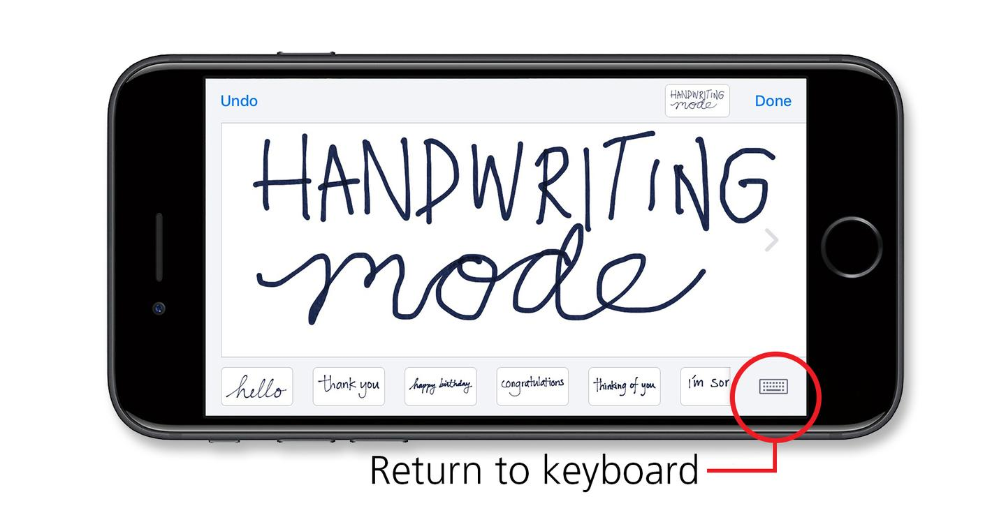 Handwriting mode in Messages
