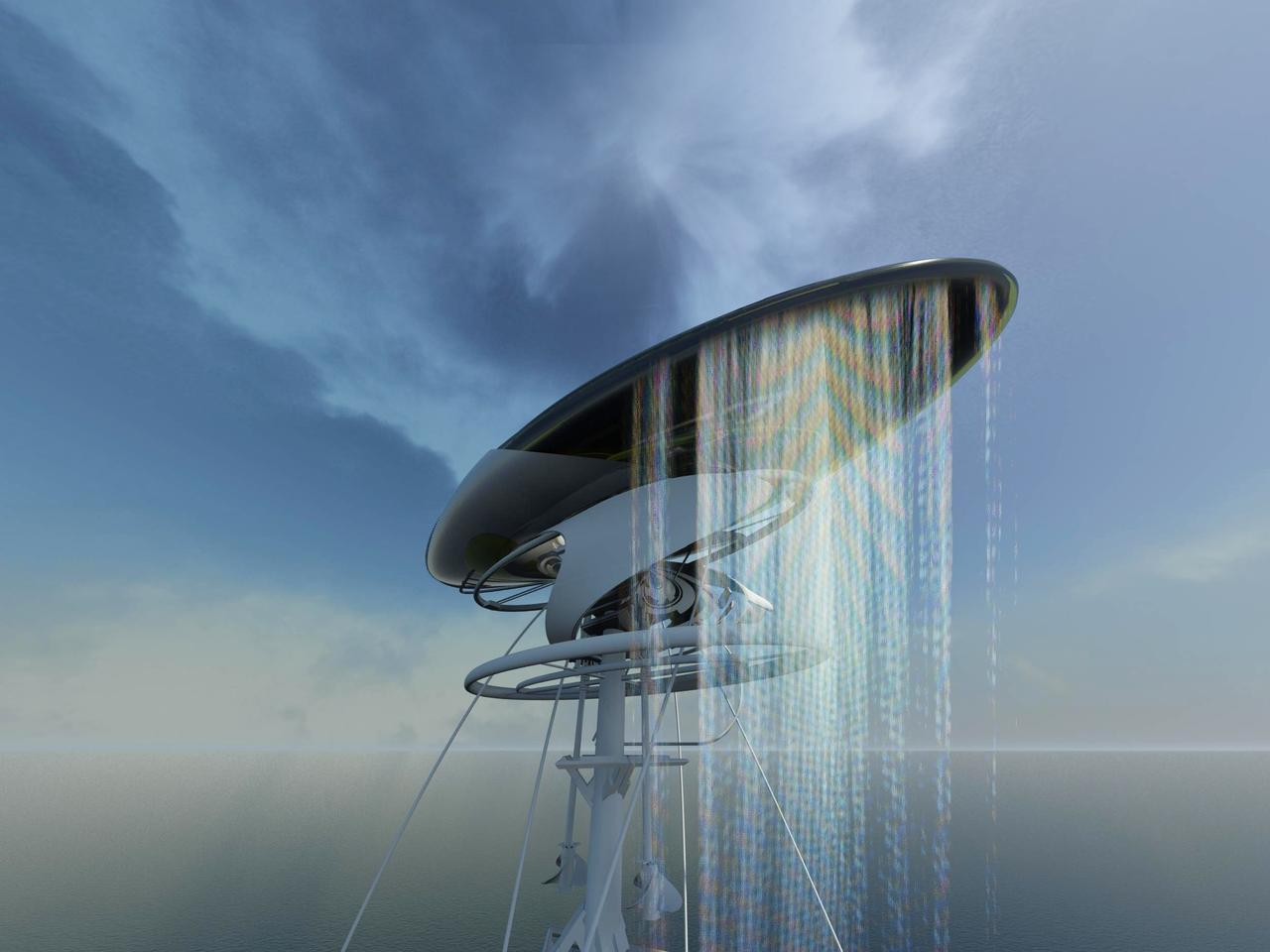 The floating prison concept is not just self-sufficient, but actually creates electricity for the mainland