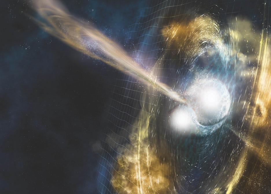 An artist's rendition of the merger of two neutron stars, which was witnessed for the first time in August last year and continues to puzzle astronomers
