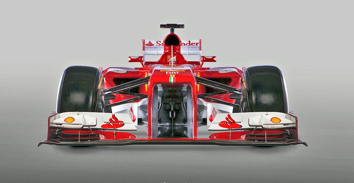 "Front view of the Ferrari F138 racecar – the ""vanity panel"" is not shown"