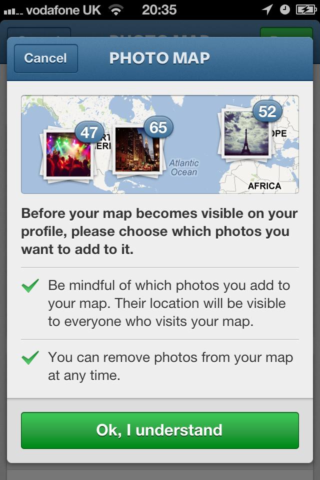 Instagram 3.0 prompts you about the new mapping functionality at first launch