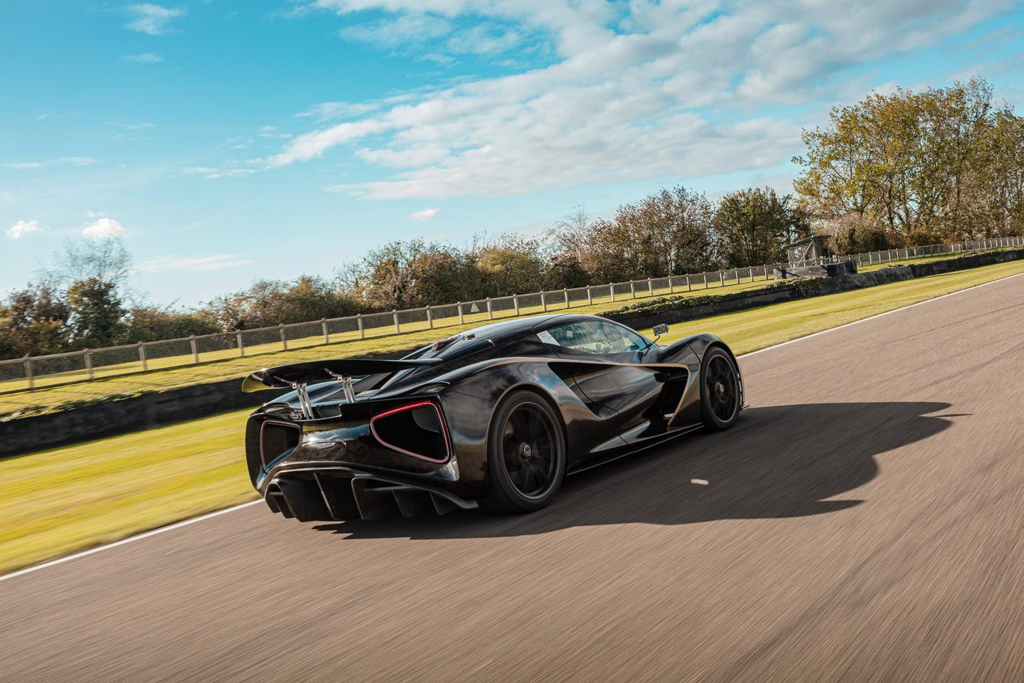 Ripping up the circuit, the Lotus Evija's all-electric powertrain provides 500 horsepower to each wheel
