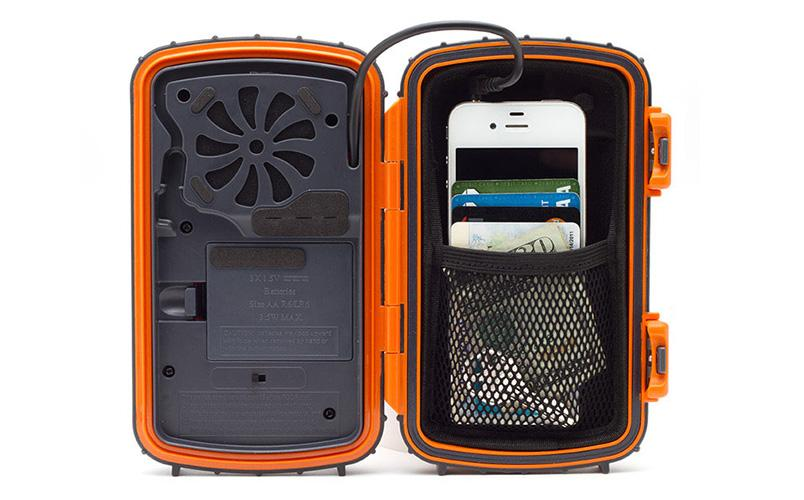 The ECOXPRO Waterproof Speaker Case has room inside for a standard-sized smartphone or MP3 player, along with things like keys and credit cards