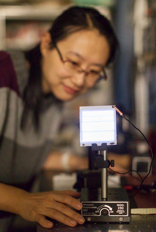 Post-doctoral fellow Wanyi Nie, inspecting a FIPEL light