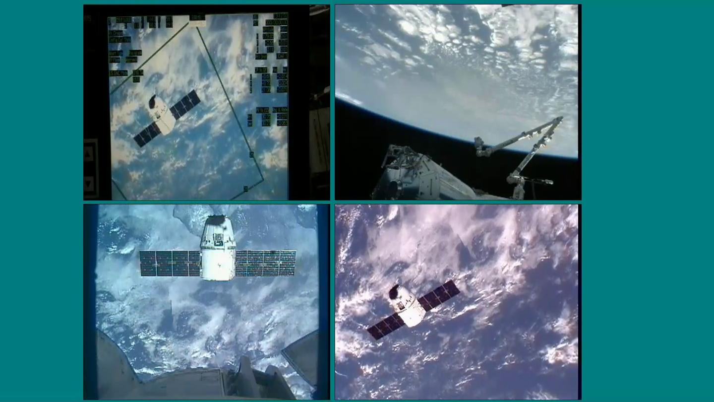 The Dragon spacecraft holding at 30 meters from the ISS (Photos: NASA)