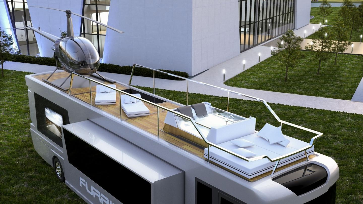 The Elysium's prize features: rooftop deck and helicopter landing pad