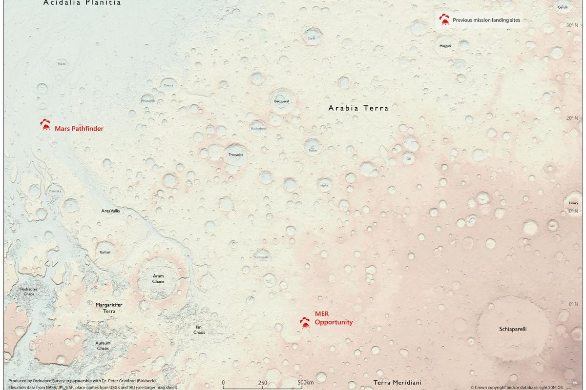 The new map of the surface of Mars is the first extraterrestrial map produced by the Ordnance Survey