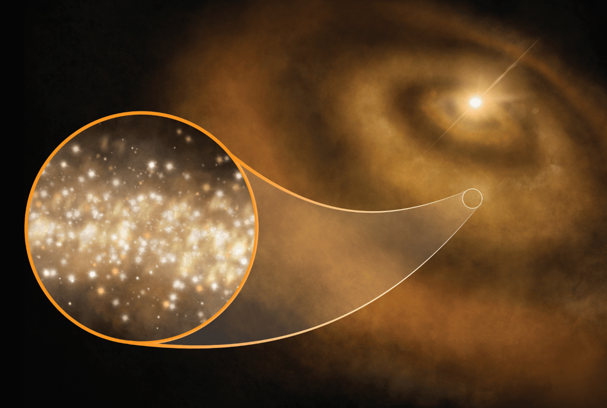 Researchers have determined that diamond dust in the clouds around young stars is responsible for strange microwave signals that have puzzled astronomers for decades