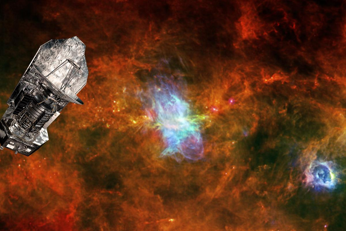 ESA's Herschel space observatory set against a background image of the Vela C star-forming region