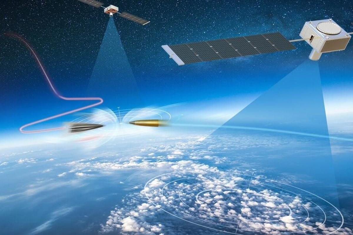 Artist's rednering of a hypersonic missile defense system