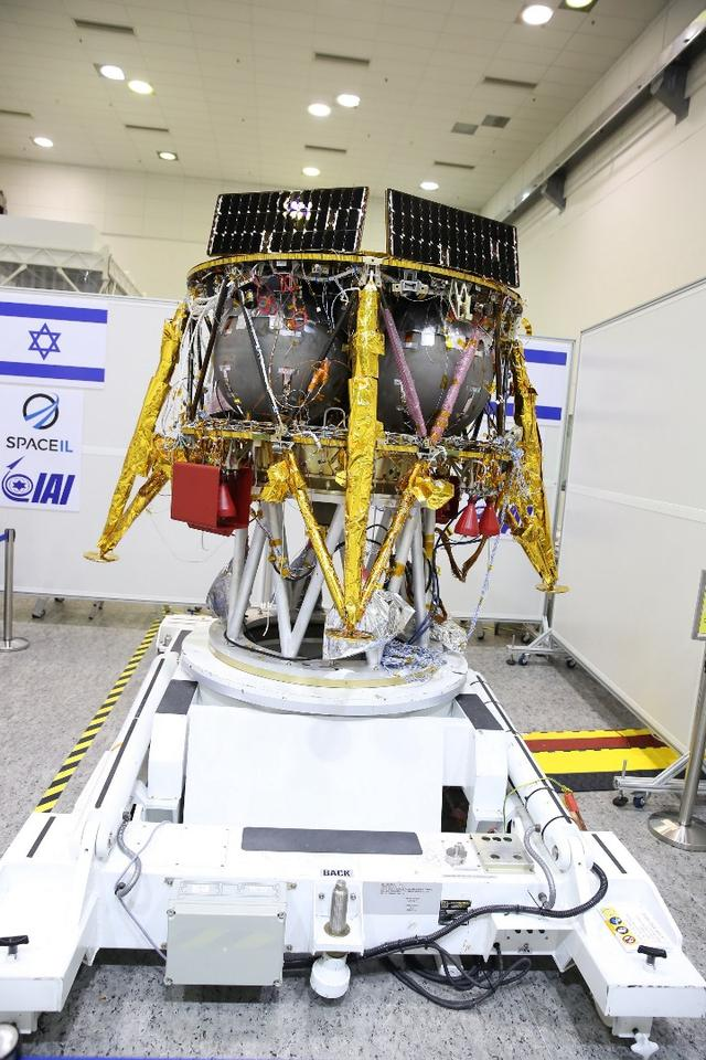 The SpaceIL lander on a transport cart