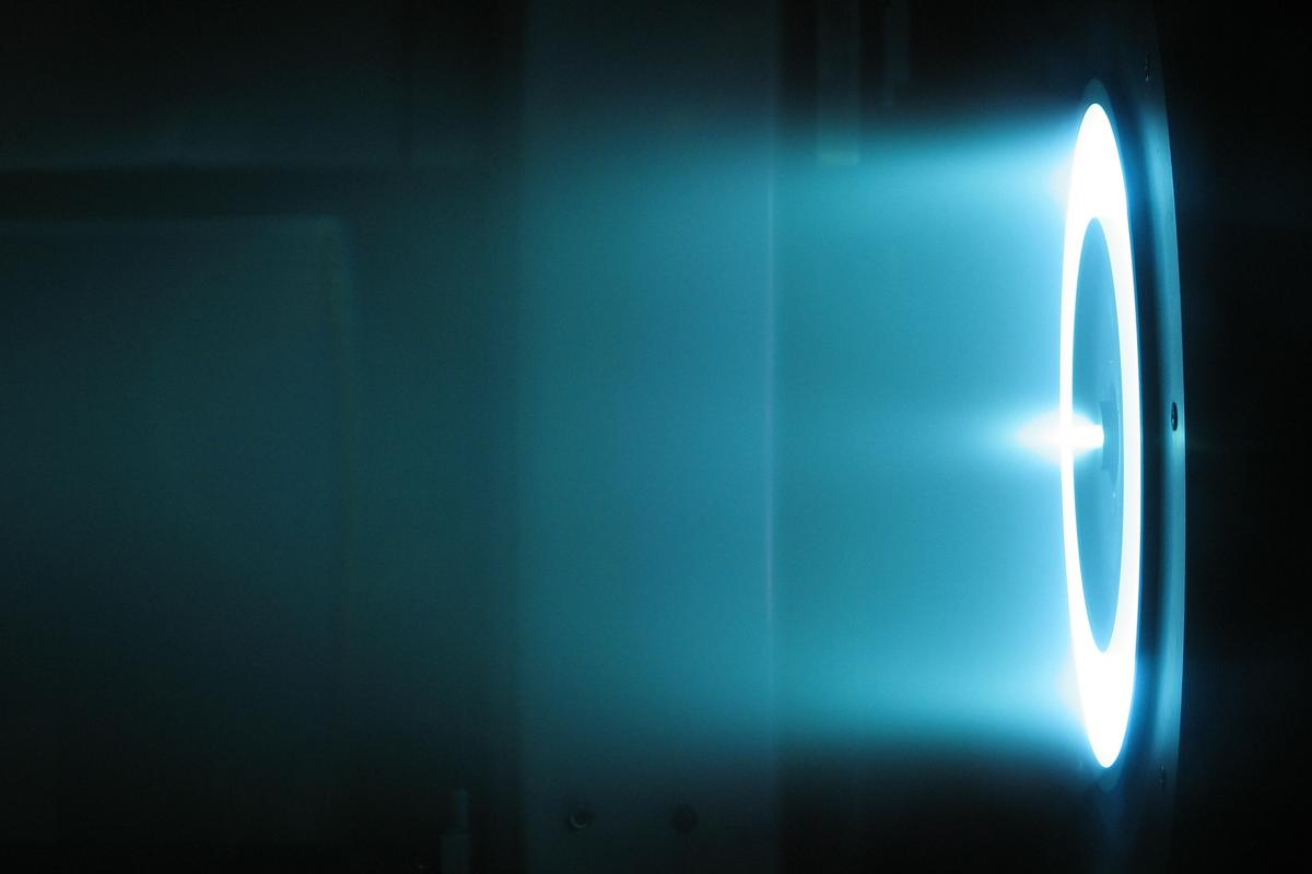 A Hall thruster electric propulsion unit in operation