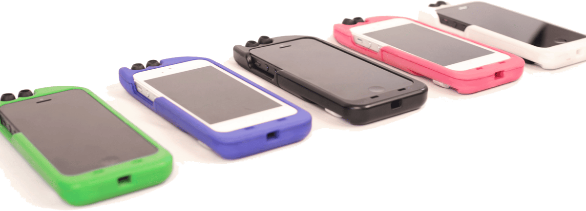 The two earbuds and winding mechanism fit unobtrusively into the case, only adding about 6 mm of thickness and 25 mm of height to an iPhone 5 when it's attached