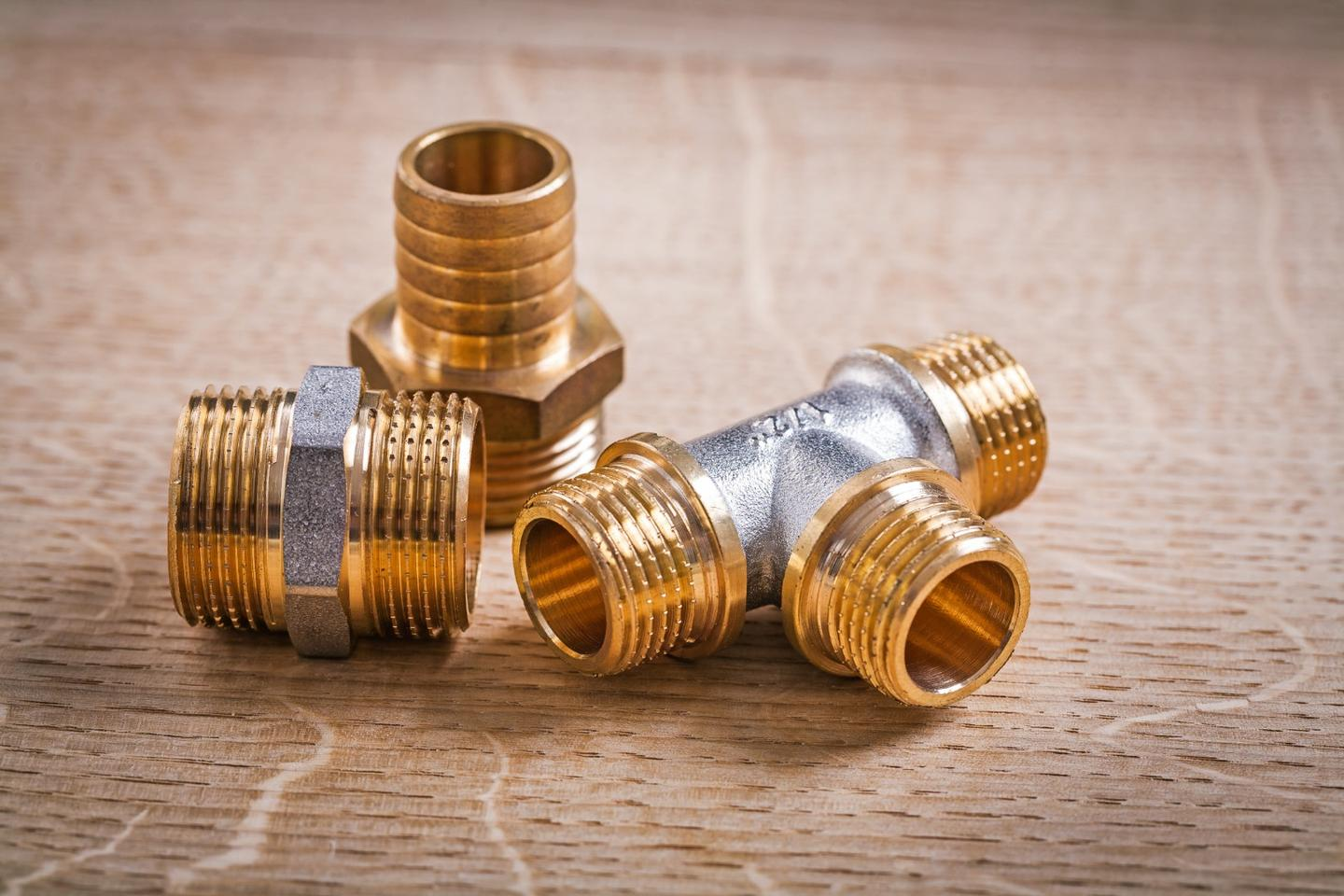 Plumbing fixtures made from conventional brass, such as these, can leach lead into drinking water