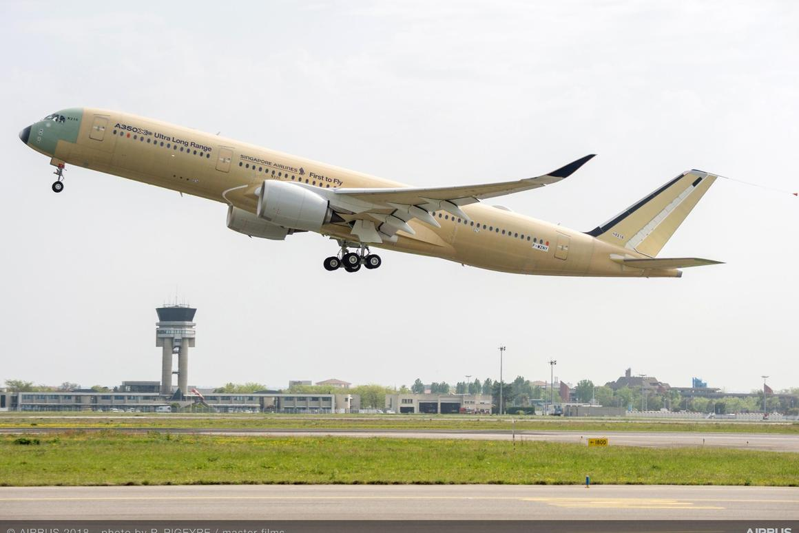 The no. 1 Ultra Long Range A350 XWB version made its first flight from France's Toulouse-Blagnac Airport