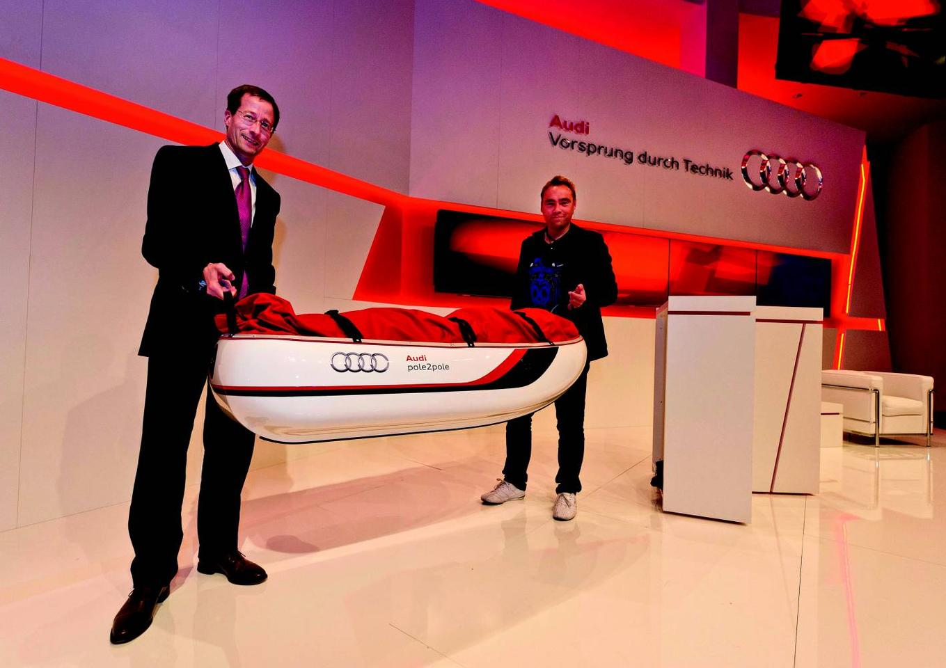 Swedish adventurer Johan Ernst Nilson (right) and his Audi-designed expedition sled (All photos courtesy Audi)