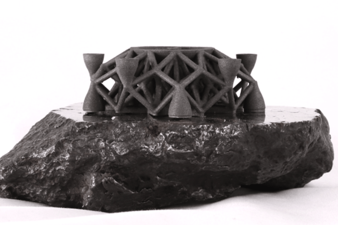 This sculpture was printed using materials from a meteorite