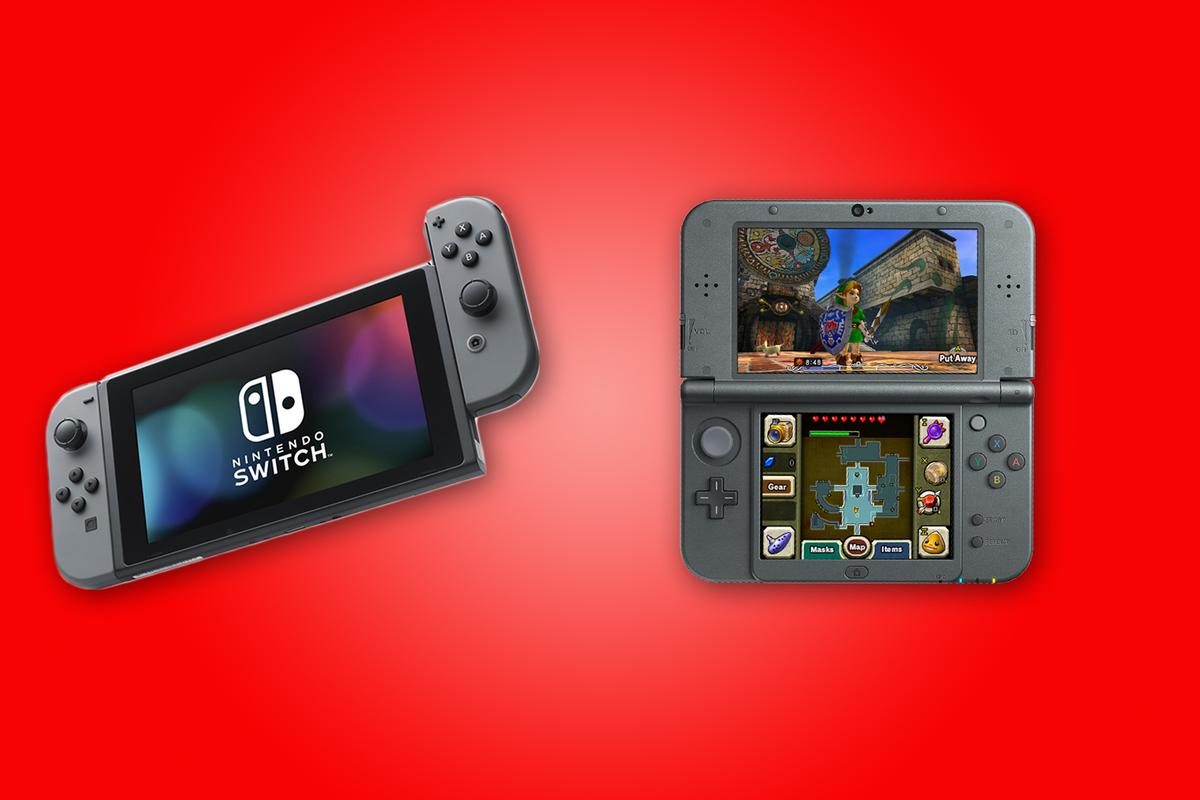 "New Atlas compares the features and specs of the Nintendo Switch (left) and 2015 (""New"") 3DS XL"