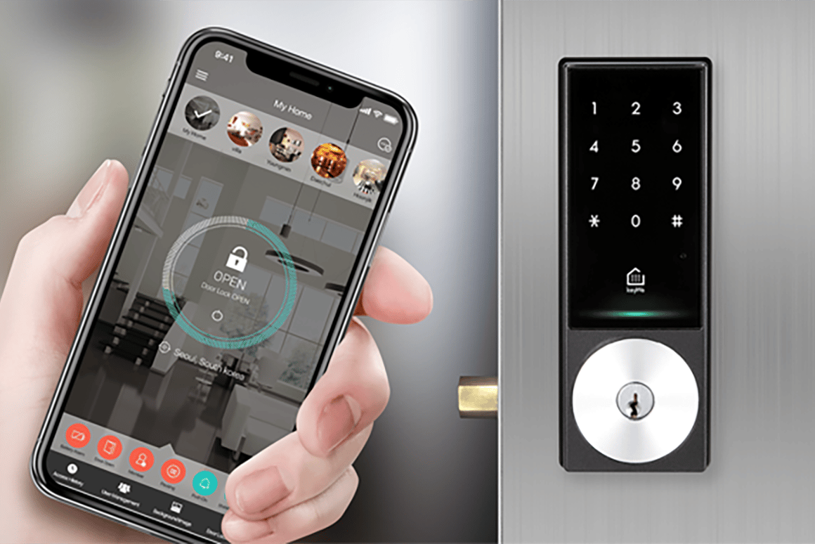 KeyWe's smart lock can open hands-free over Bluetooth or Wi-Fi, or with NFC tags, or pin codes, or even with an actual key.