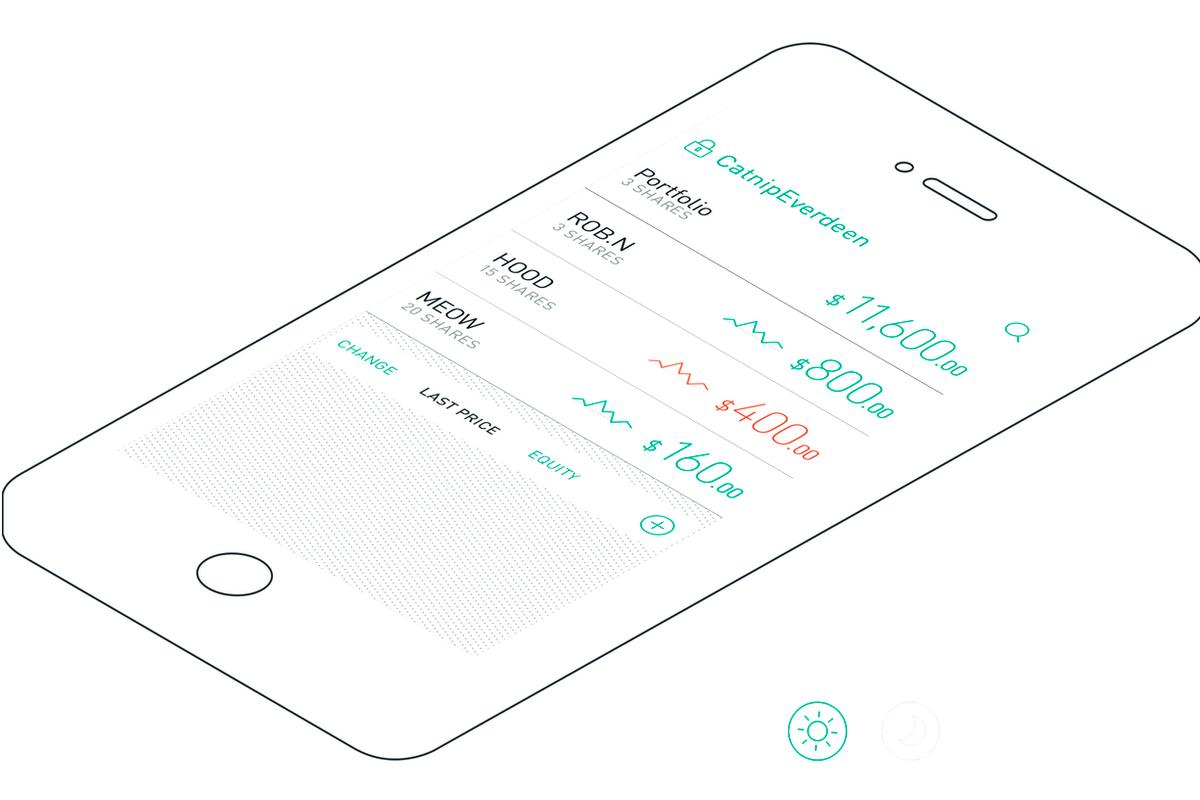 The portfolio screen of Robinhood's zero-commission trading app indicates markets are open