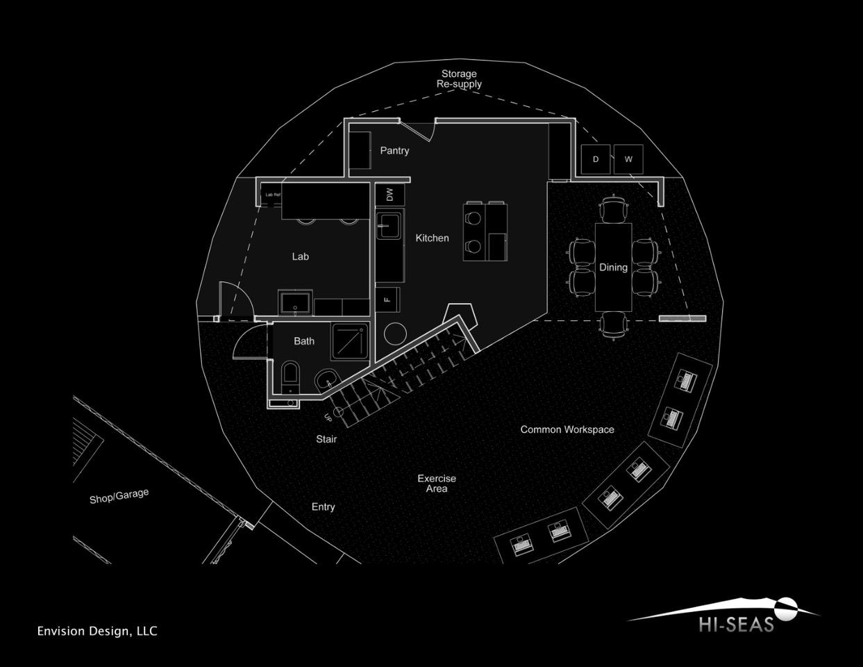 Lower level of the dome plan