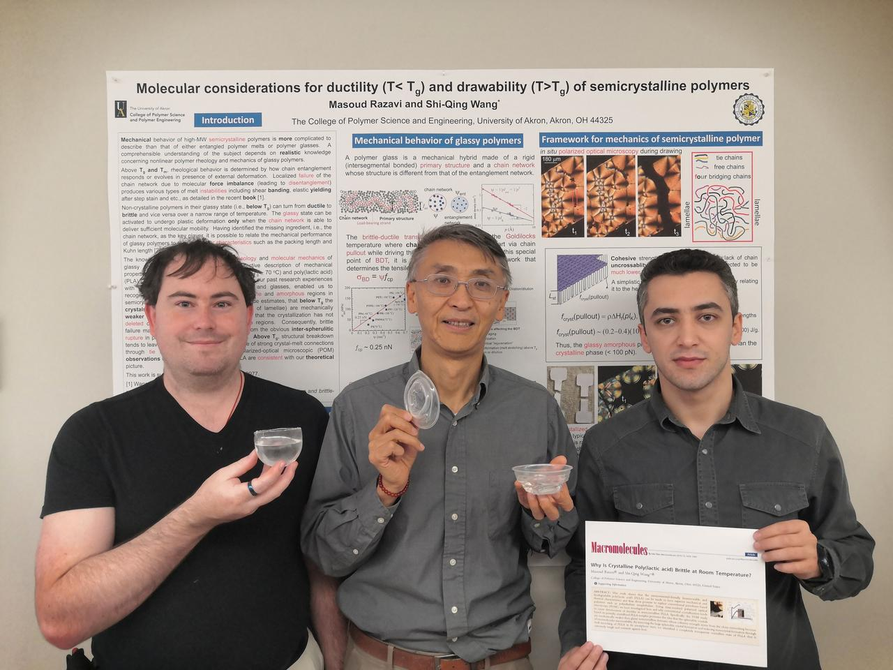 Shi-Qing Wang, Ph.D., (center), polymer science Ph.D. students Travis Smith (left) and Masoud Razavi hold samples of the newly developed PLA plastic