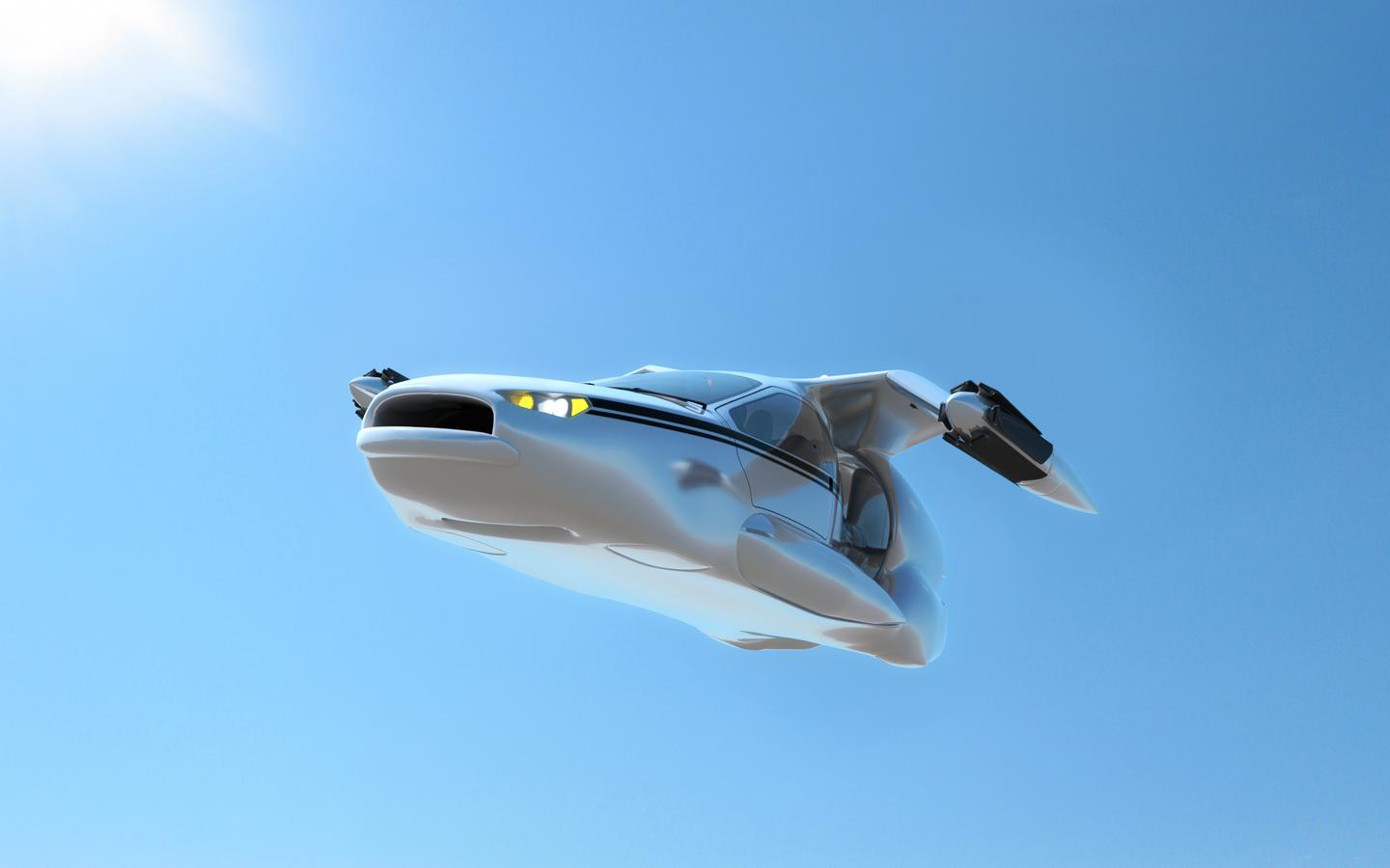 The TF-X in cruising mode, with its wing pod propellers retracted (Image: Terrafugia)