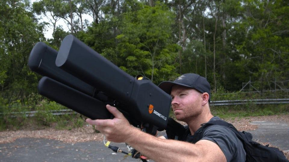 Droneshield makes guns that fire jamming frequencies at drones to bring them to ground