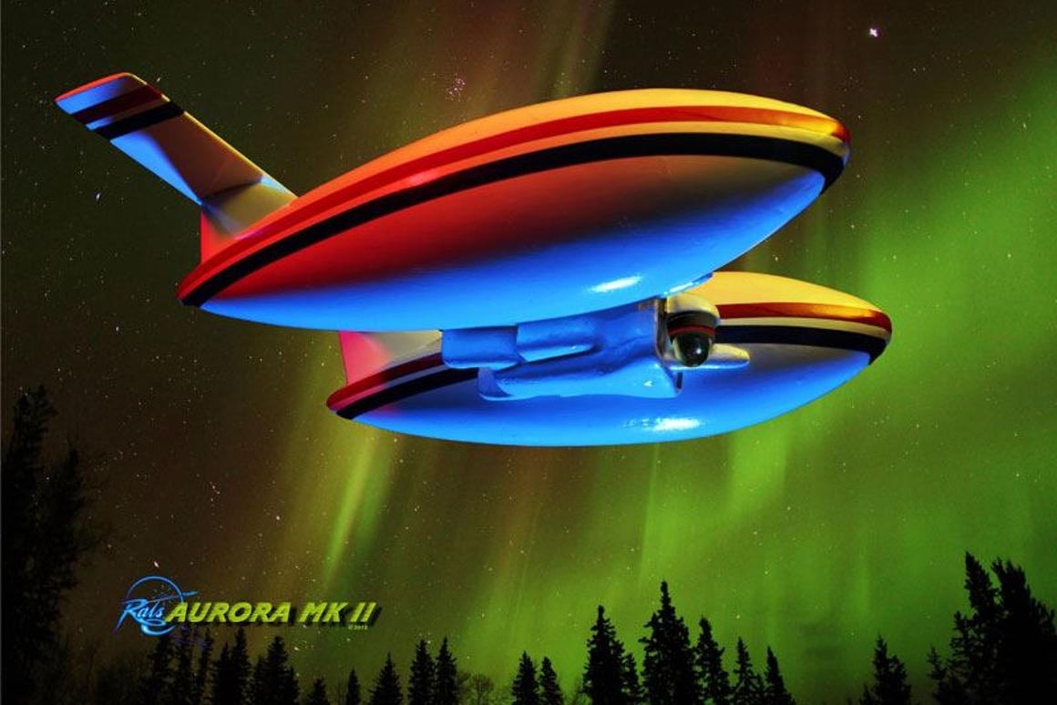 An artist's rendering of the completed Aurora airship