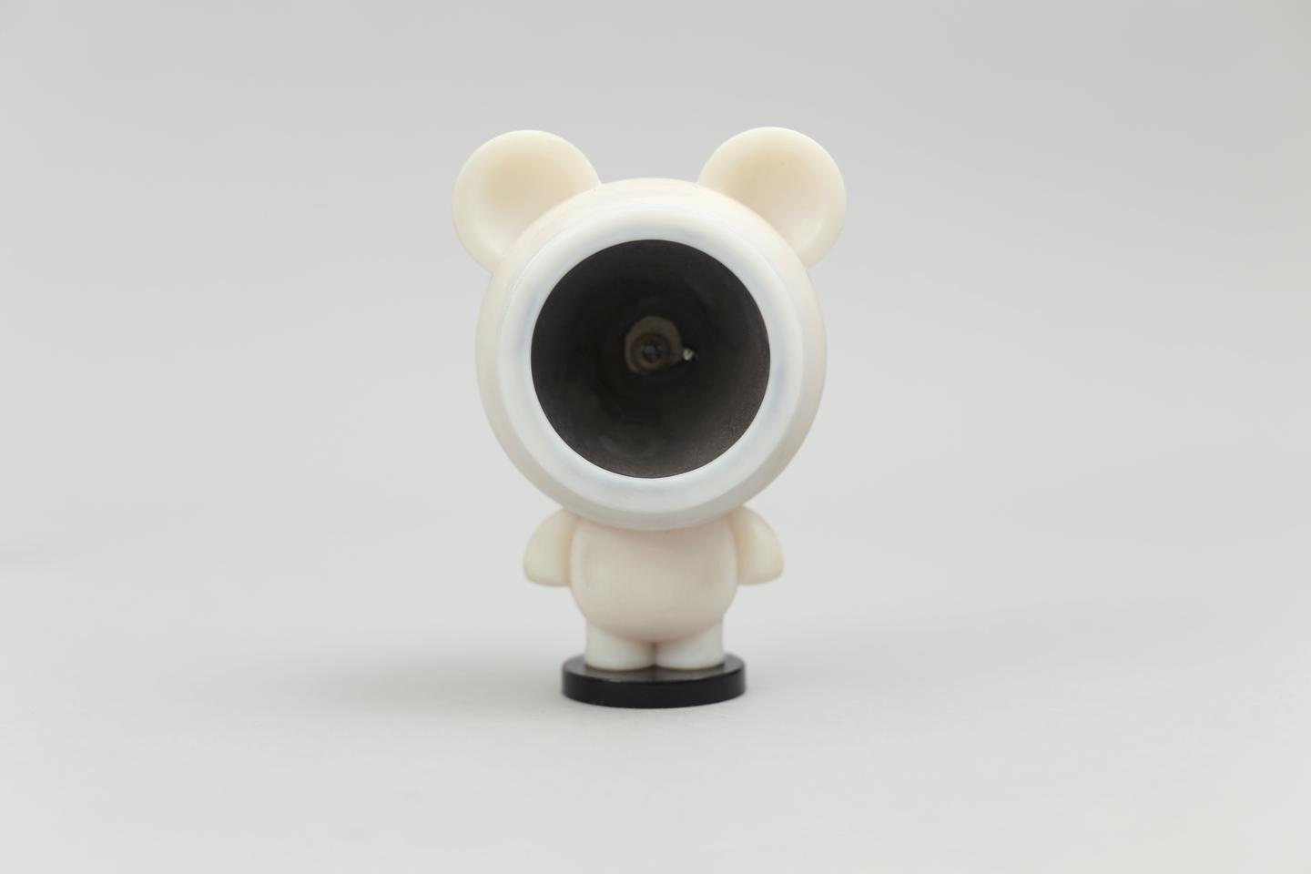 A 3D-printed speaker integrated into a teddy bear (Photo: Disney Research)