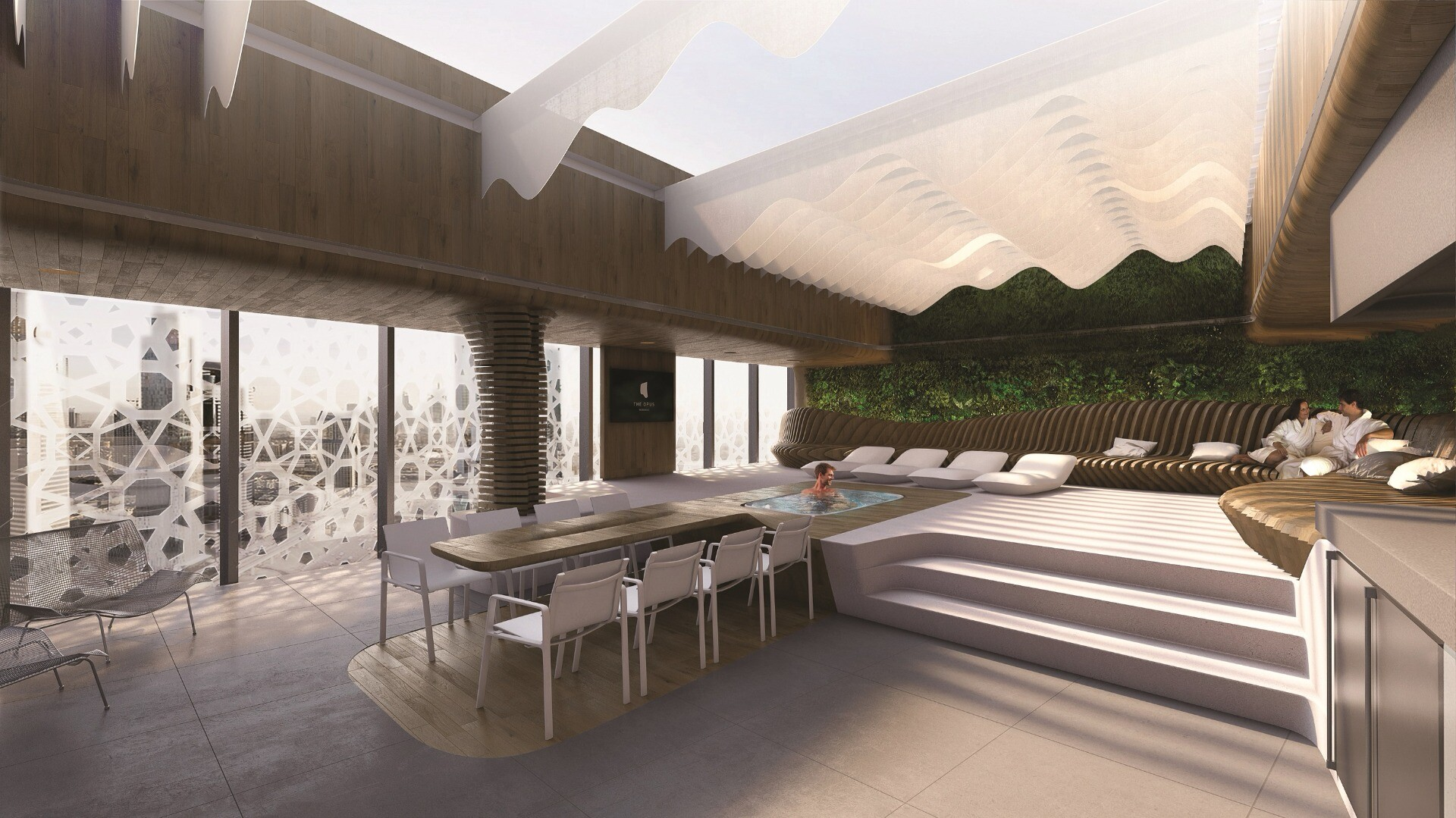 A common area inside the Opus building, by Zaha Hadid