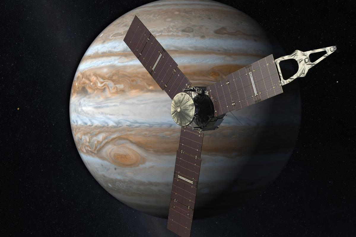 Artist's concept of Juno, which is approaching the halfway mark of its science mission