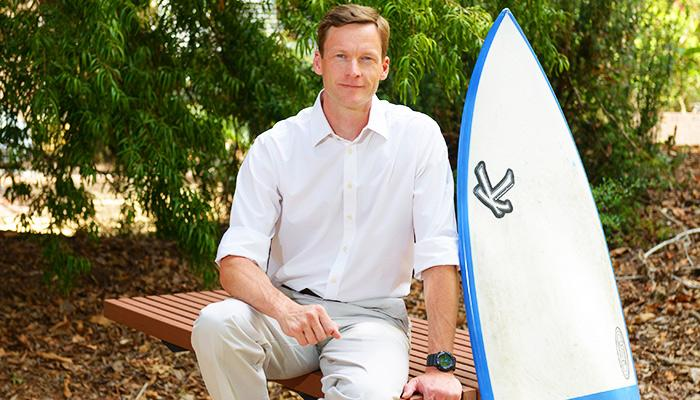 Dr Nathan Hart, a comparative neurobiologist at Australia's Macquarie University, has led new research exploring how lights on surfboards could deter sharks