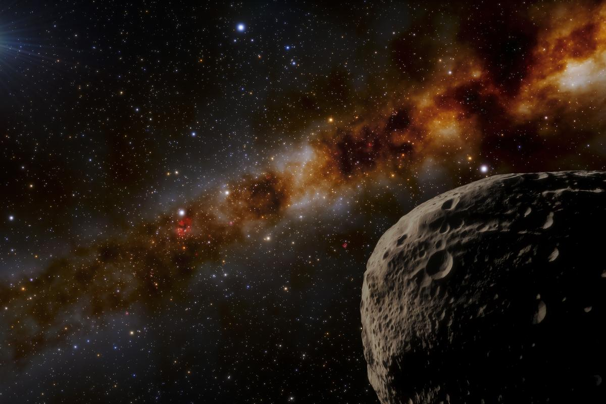 An artist's impression of Farfarout (bottom left), the new record holder for most distant known object in the solar system