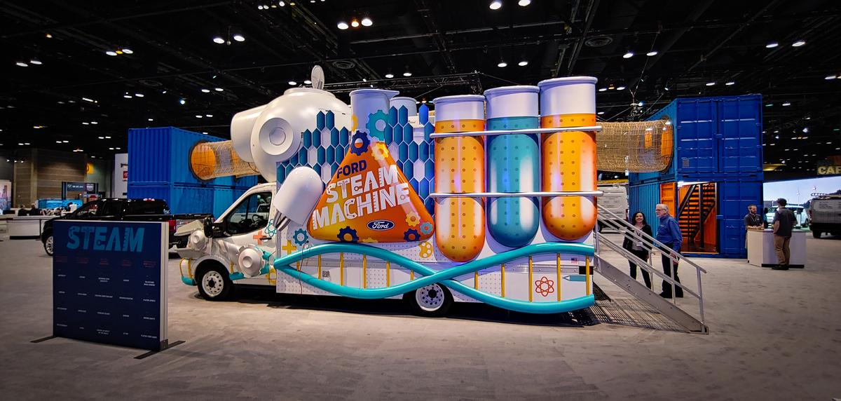 The outside of this Ford Transit STEAM Machine attracts kids with movement and color. Inside there are science, technology, engineering, arts, and math projects to play with hands-on