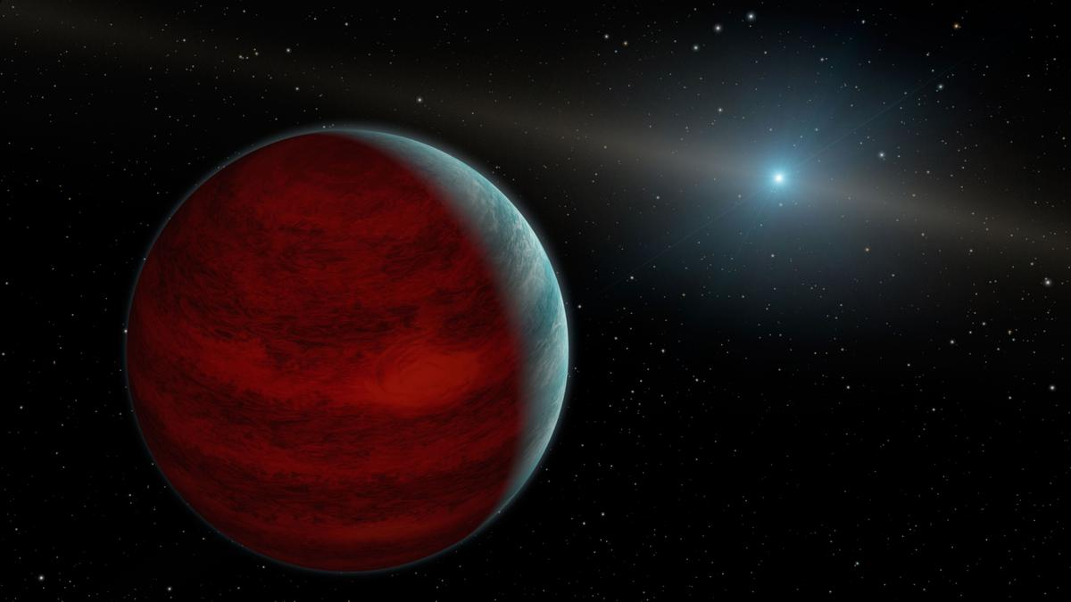 An artist's render of a gas giant exoplanet, similar to HR 5183 b